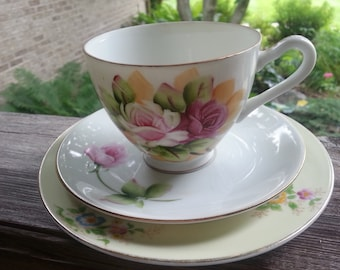 Lovely Lefton Mismatched Teacup Trio