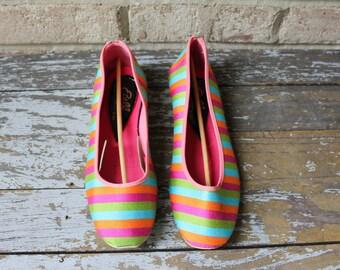 SALE // Vintage colorful ETELL striped slipper house shoe ballet flats pink green purple blue orange made in Japan