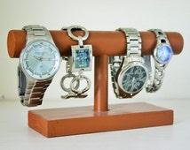Caramel Brown Watch Holder - 8, 10, 12, 14, or 16 Inch Bar - Mens or Womens Watch or Bracelet Display