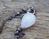 Rainbow moonstone necklace, rainbow moonstone pendant, June birthstone, moon stone, sterling silver