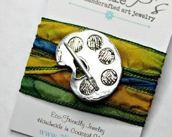 Artist Jewelry ~ Wrap Bracelet, Art Palette, Silk Wrap Bracelet, Gift for Artist, Gift for Her, Original Design