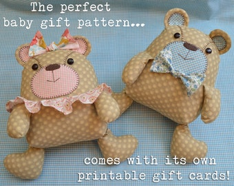 Sew Sweet Bears - Baby Gift Pattern PDF with printable gift cards Shower Gift 10'' Bear pattern