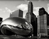 Chicago Photography, Millennium Park Cloudgate The Bean Black & White Fine Art Photograph, Urban Photography, Public art