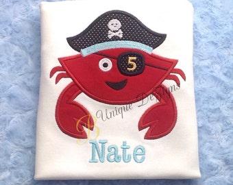 Applique Birthday Pirate Crab, Summer, Beach Applique Birthday Boy T-Shirt or Bodysuit