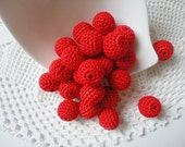 12 pcs- 13 mm beads-crocheted bead-red beads-round beads-crochet ball beads-beads crochet-embellishment-wooden crochet cotton yarn beads