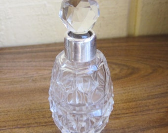 Antique Crystal Perfume Bottle with Sterling Silver Top, Birmingham 1907