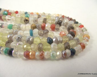Multi-gemstone Faceted Rondelle Beads, Hand-cut,  4 x 2 mm - 5 x 3 mm, 14 Inch Strand, Whole Strand
