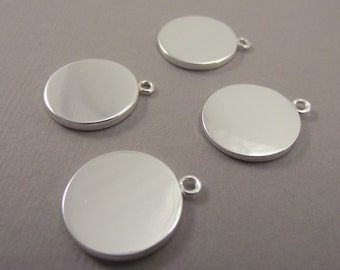 Silver Round Charms, Round Tag, Blank Discs, Stamping Blanks, 15 mm