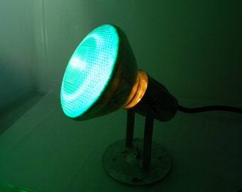 Vintage Industrial Spotlight Shop Light Green Bulb