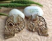 "Tribal Hanging Earrings, ""Catrina ~ Elegant Skull"" Brass, Brass/Sterling Posts, Handcrafted"
