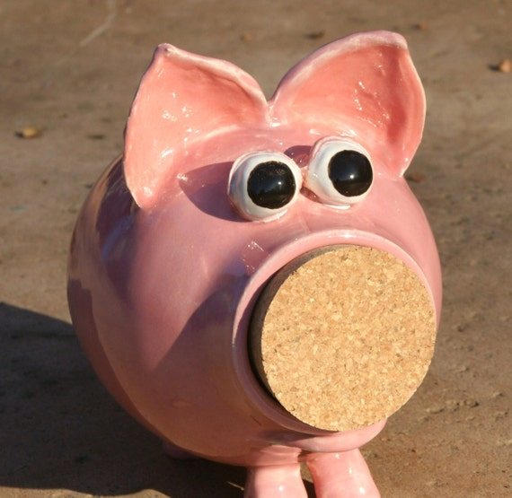 Penelope pink ceramic piggy bank hand thrown by muddywaterscc Large piggy banks for adults