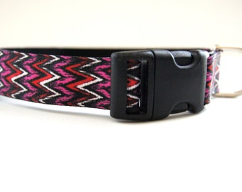 Pink and Black Chevron Dog Collar Adjustable Sizes (M, L, XL)