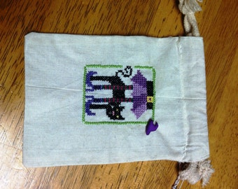 Halloween Witch Treat Bag - Cross Stitch