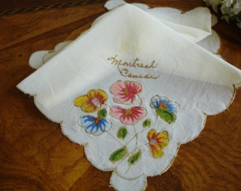 Ladies Hankie circa 1920s or 30s Hand painted Handkerchief Mothers Day Collectible Rare