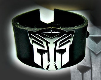 Transformers Autobot Black Leather Cuff or Red Leather