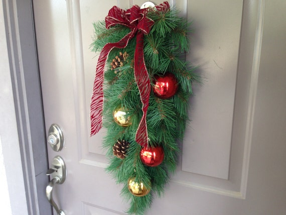 Evergreen Swag is made with Red and Gold Shatter Proof Ornaments,  Garage Door Swag, Front Door Swag, Pinecone Swag, Indoor Swag