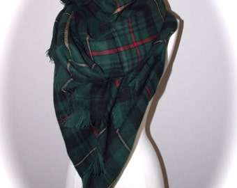 Hunter green blanket scarf/oversized scarf