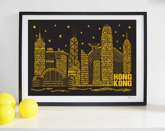 Hong Kong Skyline Typography Print