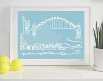 Sydney Skyline Typography Print
