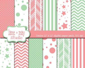 digital scrapbook papers - pink and mint green patterns - INSTANT DOWNLOAD
