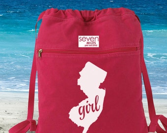 New Jersey Girl Canvas Backpack Cinch Sack
