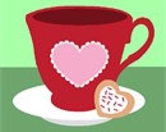Heart Tea Mint Needlepoint Kit for Beginners