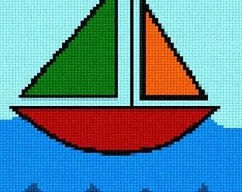 Sailboat Needlepoint Kit for Beginners