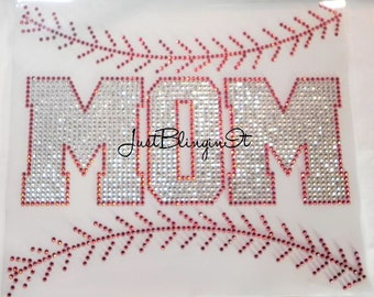 Baseball MOM with Stitching Hot Fix Iron On Rhinestone Transfer Bling DIY
