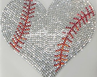 Rhinestone Transfer Baseball or Softball Heart with Stitching Hot Fix Iron On Applique MADE IN USA