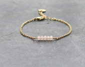 Pink bracelet with gold plated chain 24K / bar bracelet for women / crystal beads