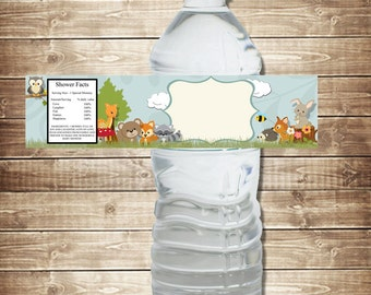 INSTANT DOWNLOAD: Water Bottle Labels-- Flowered Woodland Animals--8x2Inches--Digital File