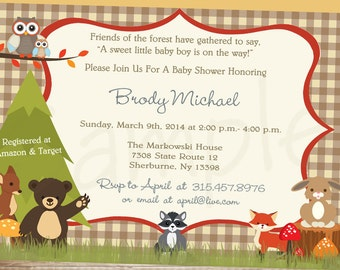 Forest Animals Baby Shower Invitation- We Print or Printable