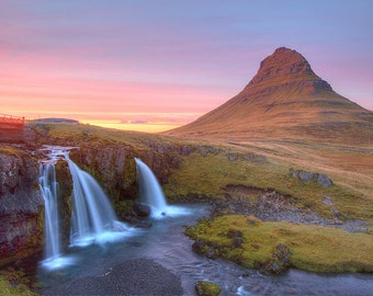 Iceland Landscape Photograph - Kirkjufell Mountain - Kirkjufellfoss Waterfall Photo - Iceland Print, Sunset Photography, HDR, Large Print