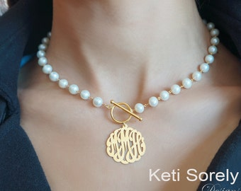 Pearl Necklace with Monogrammed Initials Charm - Freshwater White Pearls And Toggle Clasp, Sterling Silver, Yellow Gold, Rose Gold