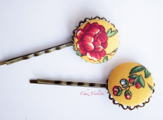 Yellow bobby pin French country fabric bobby pins set Flower barrette Floral hair pins Romantic hairstyle