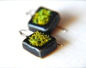 Beautiful Small Ceramic Square Moss Earrings - Double Sided with Red and Gold leaves sealed paper and Sterling Silver Ear Wire
