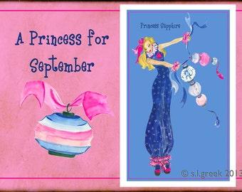 "Princess Sapphire fashion illustration-Greeting Card (5.5""x8"")"
