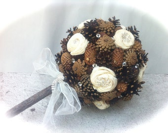 Winter Wedding Bouquet - Pine Cone Bouquet - Alternative Bridal Bouquet