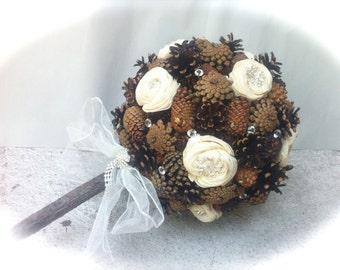 Winter Wedding Bouquet - Pine Cone Bouquet - Alternative Bridal Bouquet