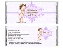 Personalized lavender vintage angel Baby Girl Shower Favor Candy Bar Wrapper - Set of Six