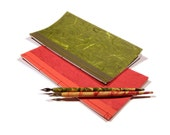 Japanese Notebooks Red & Green Set of Two. Journal Set. Office Set. Stationery Set. Poetry Journal Set. Stab Bound Notebooks. Back To School