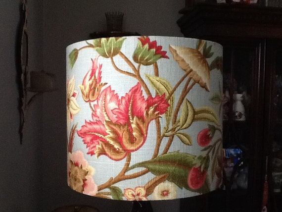 Drum Lampshade Coral And Aqua Linen Floral Fabric Shade