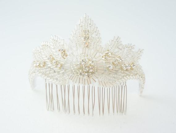 1920's Style Ivory Bridal Haircomb - Elegant Art Deco - Gatsby Rhinestone Wedding Comb - Ready to Ship