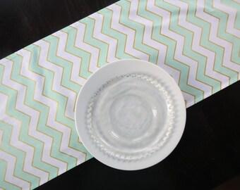 Mint Green, Metallic Gold & White Chevron Table Runner