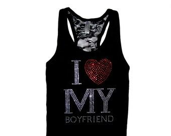 I <3 My Boyfriend Tank Top. Valentine's Day Gift. I Love My Boyfriend Shirt. Engagement Gift. Bride Gift. Bride to be. New Bride Gift.