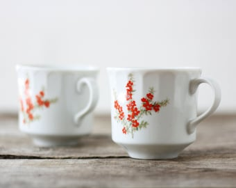 Richmond Toscany Collection Tea Cups Red Floral - Set of 2