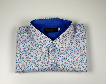 Men's shirt  lilac blue flower print with block colour inside collar, cuffs. long sleeves, Poly cotton size XS