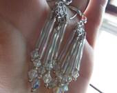 Sterling Silver Handmade beaded Crystal Chandelier Earrings