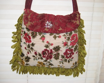 Vintage needlepoint bag purse, gypsy bag, floral boho bag, carpet bag, burgundy olive green bag, crossbody bag
