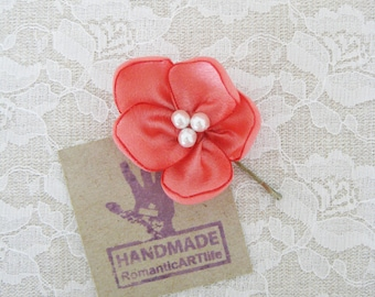 Coral Flower Hair Pin. Coral Flower Hair Piece. Bridesmaid Hair Accessory.